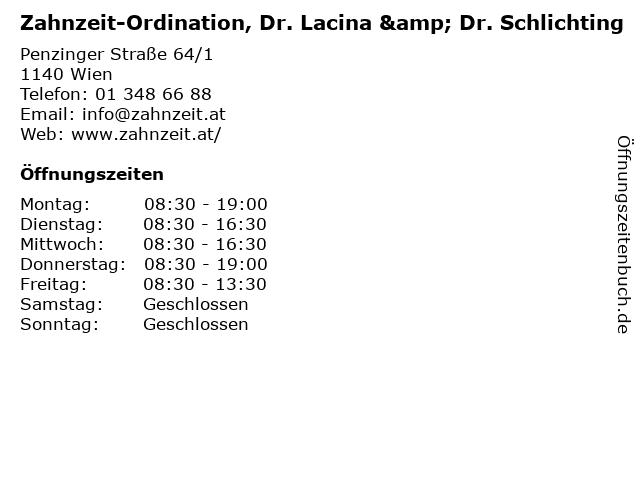 Zahnzeit-Ordination, Dr. Lacina & Dr. Schlichting in Wien: Adresse und Öffnungszeiten