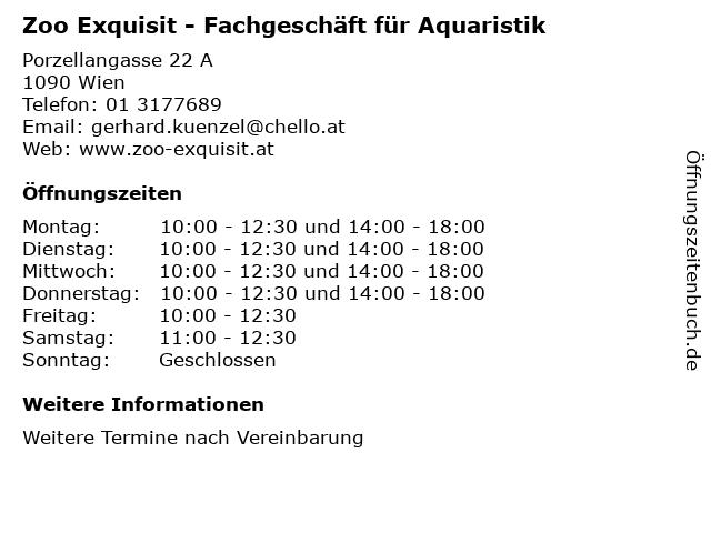 Zoo Exquisit - Fachgeschäft für Aquaristik in Wien: Adresse und Öffnungszeiten