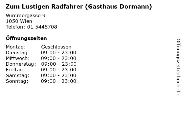 Zum Lustigen Radfahrer (Gasthaus Dormann) in Wien: Adresse und Öffnungszeiten