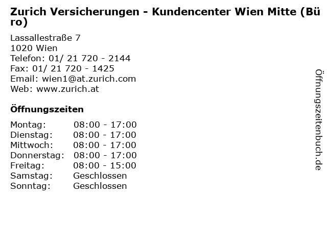 Zurich Versicherungen - Kundencenter Wien Mitte (Büro) in Wien: Adresse und Öffnungszeiten