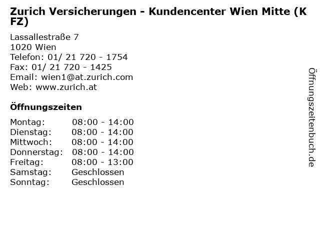 Zurich Versicherungen - Kundencenter Wien Mitte (KFZ) in Wien: Adresse und Öffnungszeiten