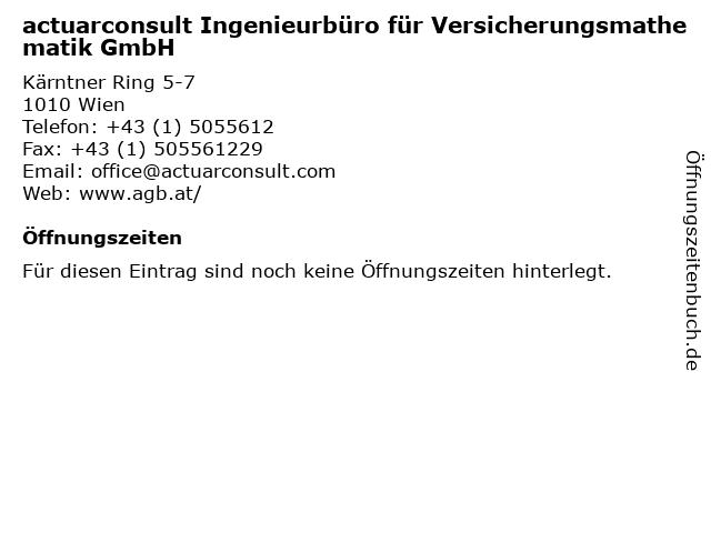 actuarconsult Ingenieurbüro für Versicherungsmathematik GmbH in Wien: Adresse und Öffnungszeiten