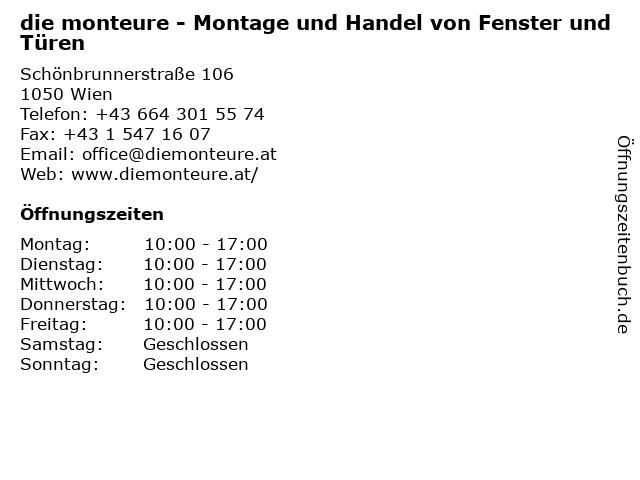 die monteure - Montage und Handel von Fenster und Türen in Wien: Adresse und Öffnungszeiten