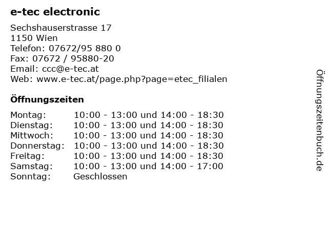 e-tec electronic in Wien: Adresse und Öffnungszeiten