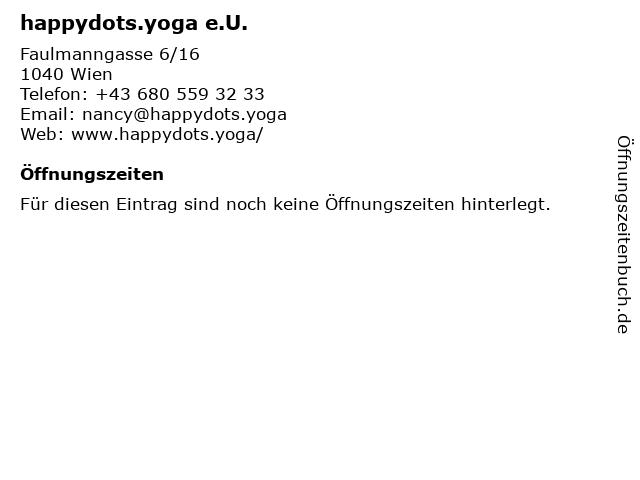 happydots.yoga e.U. in Wien: Adresse und Öffnungszeiten