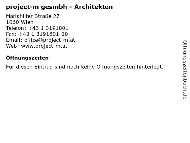 project-m gesmbh - Architekten in Wien: Adresse und Öffnungszeiten