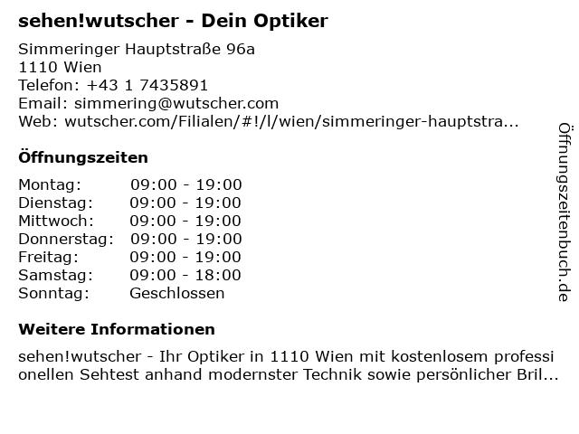 Wutscher Optik in Wien: Adresse und Öffnungszeiten