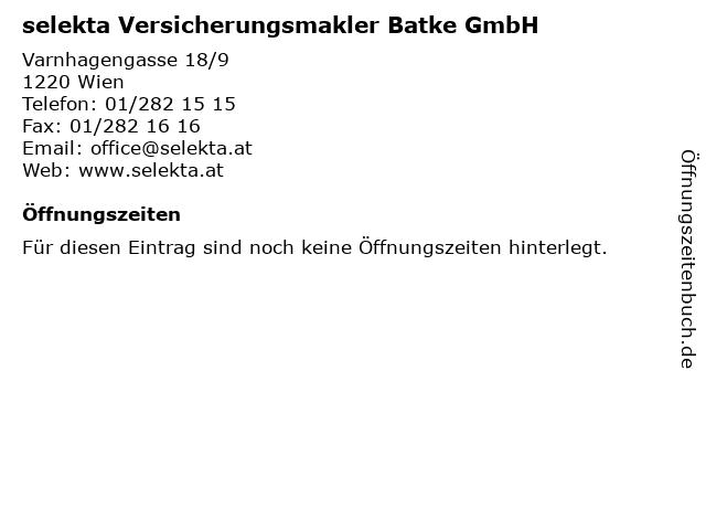 selekta Versicherungsmakler Batke GmbH in Wien: Adresse und Öffnungszeiten