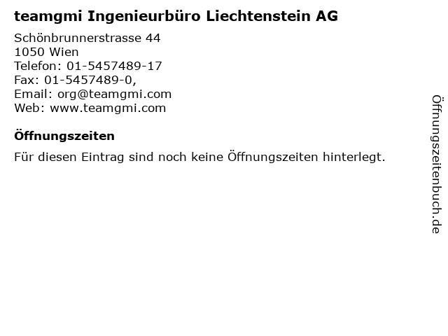 teamgmi Ingenieurbüro Liechtenstein AG in Wien: Adresse und Öffnungszeiten