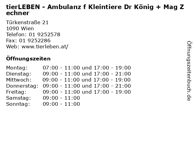 tierLEBEN - Ambulanz f Kleintiere Dr König + Mag Zechner in Wien: Adresse und Öffnungszeiten