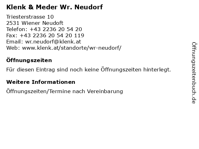 Klenk & Meder Wr. Neudorf in Wiener Neudoft: Adresse und Öffnungszeiten