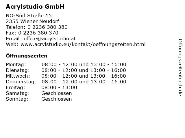 Acrylstudio GmbH in Wiener Neudorf: Adresse und Öffnungszeiten
