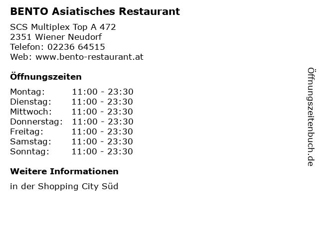 BENTO Asiatisches Restaurant in Wiener Neudorf: Adresse und Öffnungszeiten