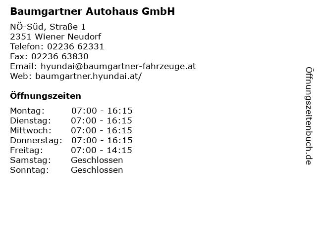 Baumgartner Autohaus GmbH in Wiener Neudorf: Adresse und Öffnungszeiten