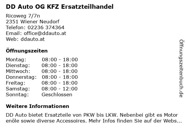 DD Auto OG KFZ Ersatzteilhandel in Wiener Neudorf: Adresse und Öffnungszeiten