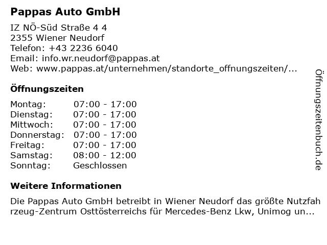 Pappas Auto GmbH in Wiener Neudorf: Adresse und Öffnungszeiten