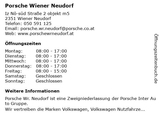 Porsche Wiener Neudorf (Service) in Wiener Neudorf: Adresse und Öffnungszeiten