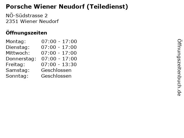 Porsche Wiener Neudorf (Teiledienst) in Wiener Neudorf: Adresse und Öffnungszeiten