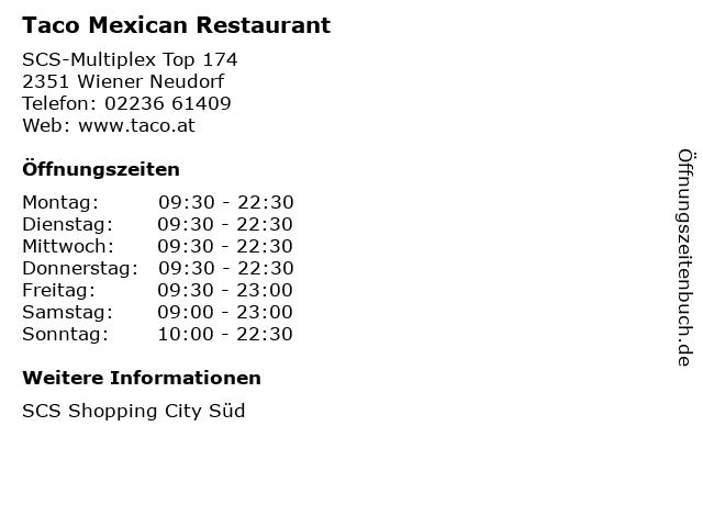 Taco Mexican Restaurant in Wiener Neudorf: Adresse und Öffnungszeiten