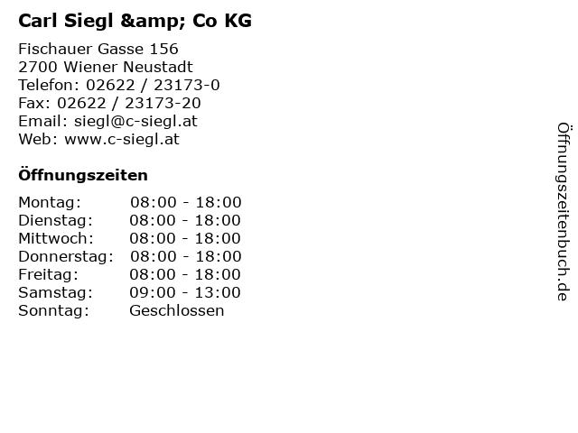 Carl Siegl & Co KG in Wiener Neustadt: Adresse und Öffnungszeiten