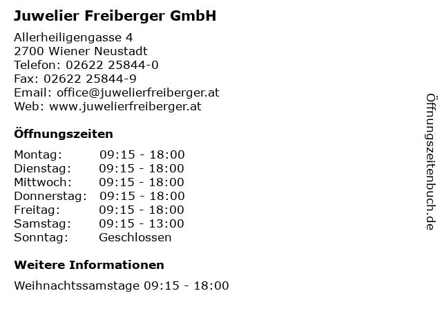 Juwelier Freiberger GmbH in Wiener Neustadt: Adresse und Öffnungszeiten