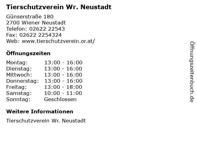 ᐅ öffnungszeiten Tierschutzverein Wr Neustadt Günserstraße 180