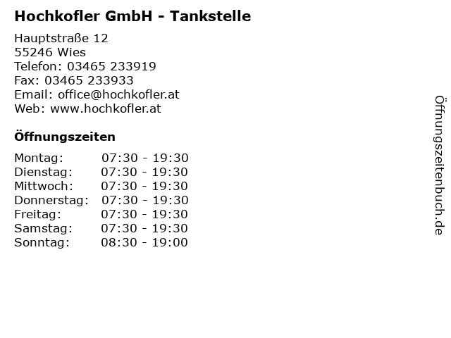 Hochkofler GmbH - Tankstelle in Wies: Adresse und Öffnungszeiten