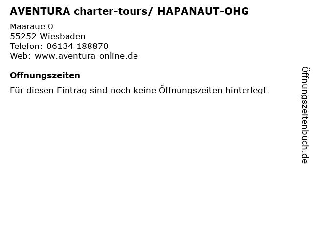 AVENTURA charter-tours/ HAPANAUT-OHG in Wiesbaden: Adresse und Öffnungszeiten