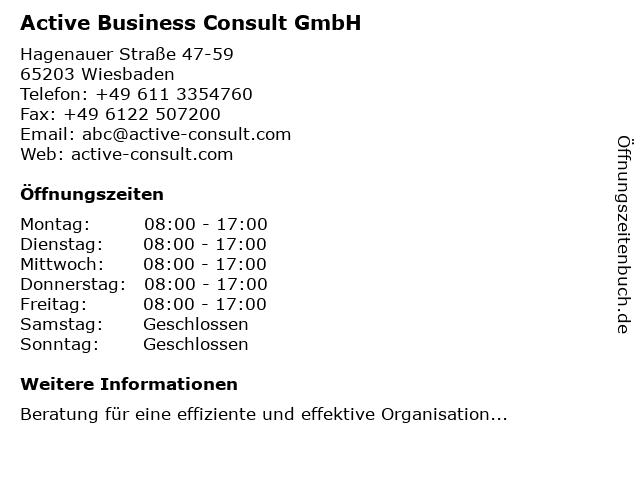 Active Business Consult GmbH in Wiesbaden: Adresse und Öffnungszeiten