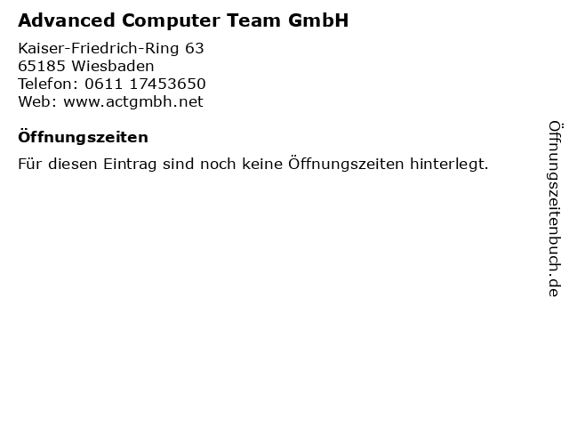 Advanced Computer Team GmbH in Wiesbaden: Adresse und Öffnungszeiten