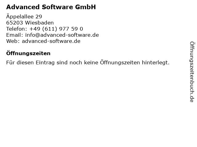 Advanced Software GmbH in Wiesbaden: Adresse und Öffnungszeiten