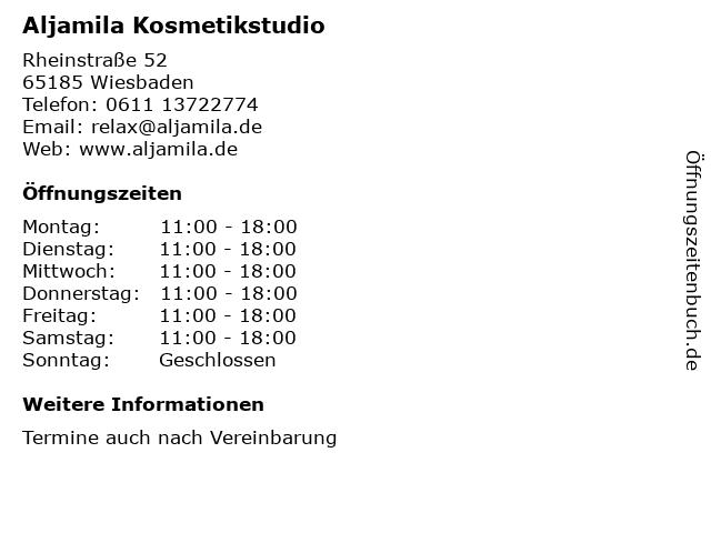 Aljamila Kosmetikstudio in Wiesbaden: Adresse und Öffnungszeiten