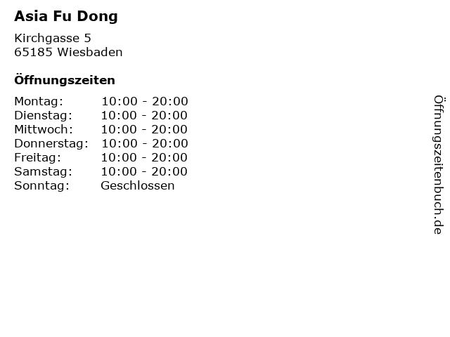 Asia Fu Dong in Wiesbaden: Adresse und Öffnungszeiten