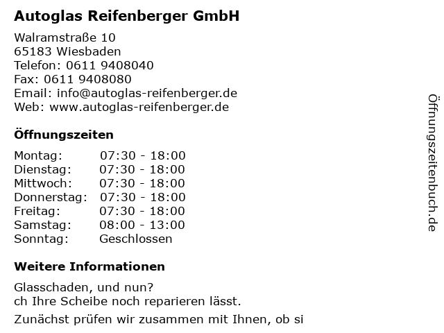 Autoglas Reifenberger GmbH in Wiesbaden: Adresse und Öffnungszeiten
