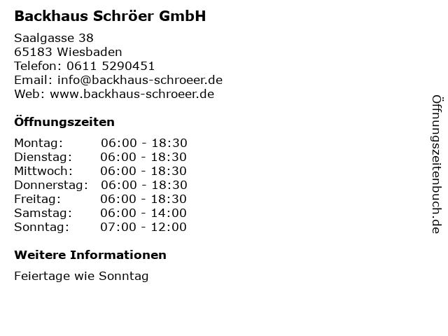 Backhaus Schröer GmbH in Wiesbaden: Adresse und Öffnungszeiten