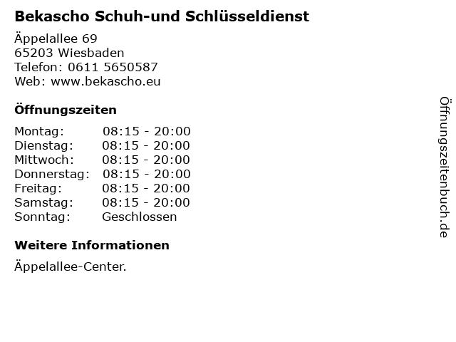 Bekascho Schuh-und Schlüsseldienst in Wiesbaden: Adresse und Öffnungszeiten