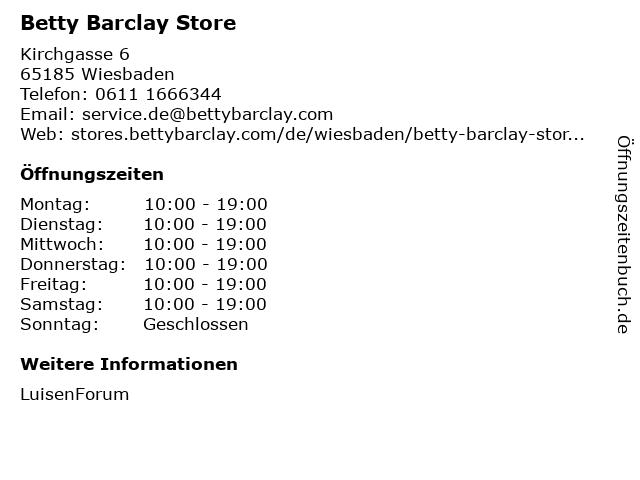 Betty Barclay Store in Wiesbaden: Adresse und Öffnungszeiten