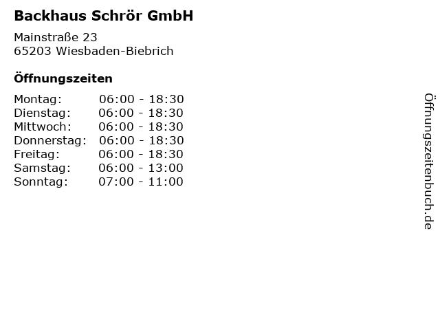 Backhaus Schrör GmbH in Wiesbaden-Biebrich: Adresse und Öffnungszeiten