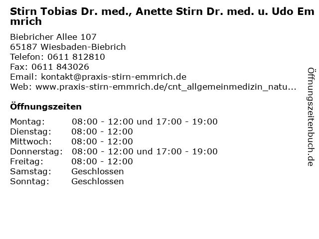 Stirn Tobias Dr. med., Anette Stirn Dr. med. u. Udo Emmrich in Wiesbaden-Biebrich: Adresse und Öffnungszeiten