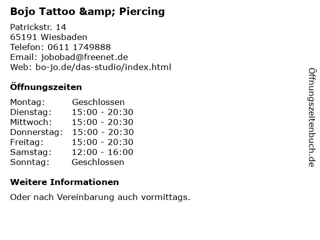 Bojo Tattoo & Piercing in Wiesbaden: Adresse und Öffnungszeiten