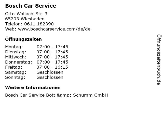 Bosch Car Service in Wiesbaden: Adresse und Öffnungszeiten
