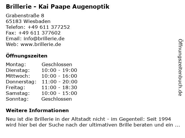 Brillerie - Kai Paape Augenoptik in Wiesbaden: Adresse und Öffnungszeiten