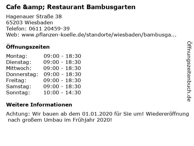 Cafe & Restaurant Bambusgarten in Wiesbaden: Adresse und Öffnungszeiten