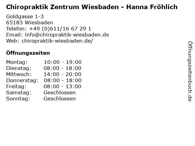 Chiropraktik Zentrum Wiesbaden - Hanna Fröhlich in Wiesbaden: Adresse und Öffnungszeiten