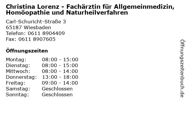 Christina Lorenz - Fachärztin für Allgemeinmedizin, Homöopathie und Naturheilverfahren in Wiesbaden: Adresse und Öffnungszeiten