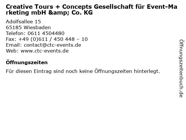 Creative Tours + Concepts GmbH & Co. KG in Wiesbaden: Adresse und Öffnungszeiten