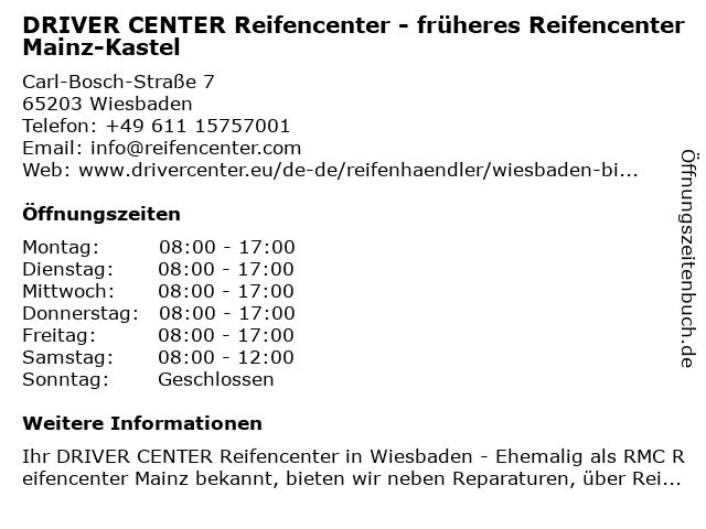 DRIVER CENTER Reifencenter Mainz-Kastel in Wiesbaden: Adresse und Öffnungszeiten