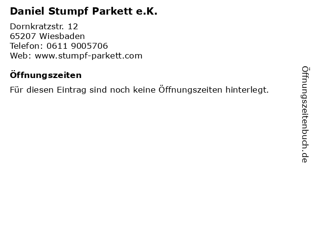 Daniel Stumpf Parkett e.K. in Wiesbaden: Adresse und Öffnungszeiten