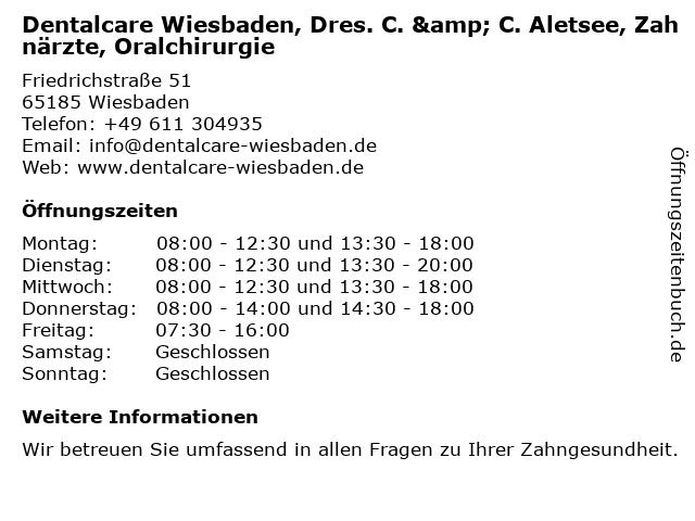 Dentalcare Wiesbaden, Dres. C. & C. Aletsee, Zahnärzte, Oralchirurgie in Wiesbaden: Adresse und Öffnungszeiten