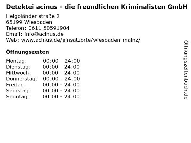 Detektei acinus - die freundlichen Kriminalisten GmbH in Wiesbaden: Adresse und Öffnungszeiten
